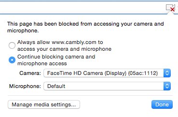 My camera isn't working in Google Chrome – Cambly